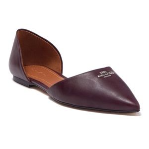 NIB COACH POINTED LEATHER d'ORSAY FLATS SIZE 8